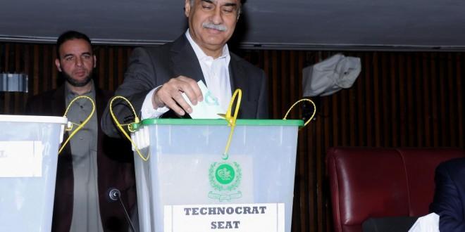 Speaker Sardar Ayaz Sadiq cast the first vote in the Senate elections