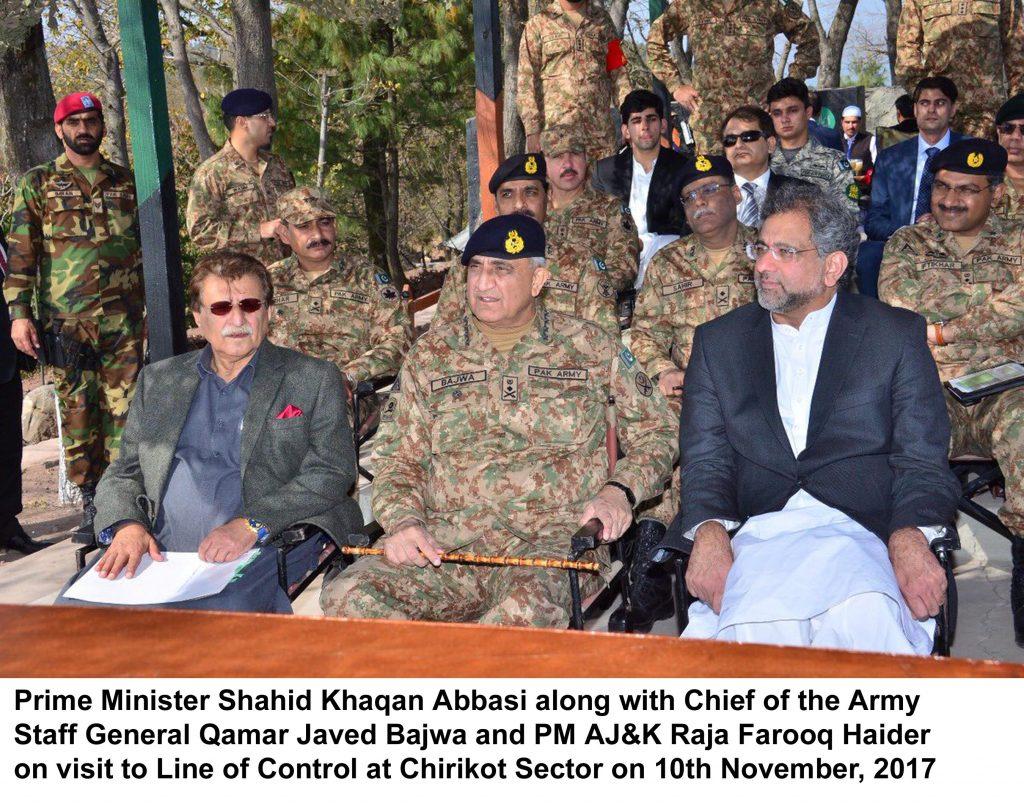 Prime Minister Shahid Khaqan Abbasi along with Chief of the Army Staff General Qamar Javed Bajwa and PM AJ&K Raja Farooq Haider on visit to Line of Control at Chirikot Sector on 10th November, 2017
