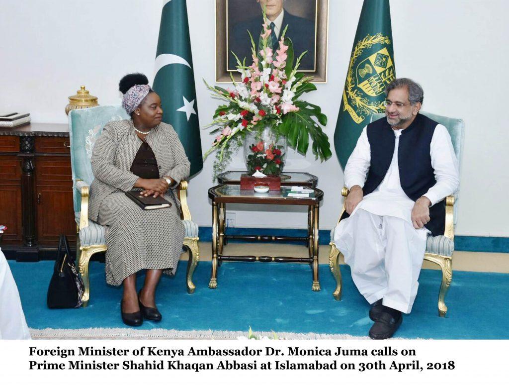 Foreign Minister of Kenya Ambassador Dr. Monica Juma calls on Prime Minister Shahid Khaqan Abbasi at Islamabad on 30th April, 2018
